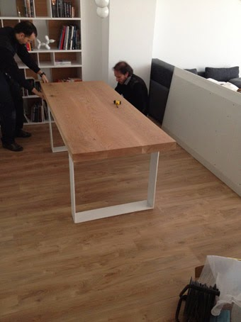 mesas madera y hierro mesa de madera maciza con patas de hierro lacado en blanco